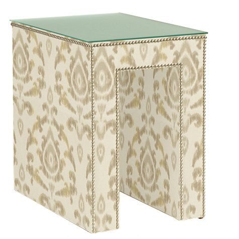 "Hayden Upholstered Table. 17"" wide."