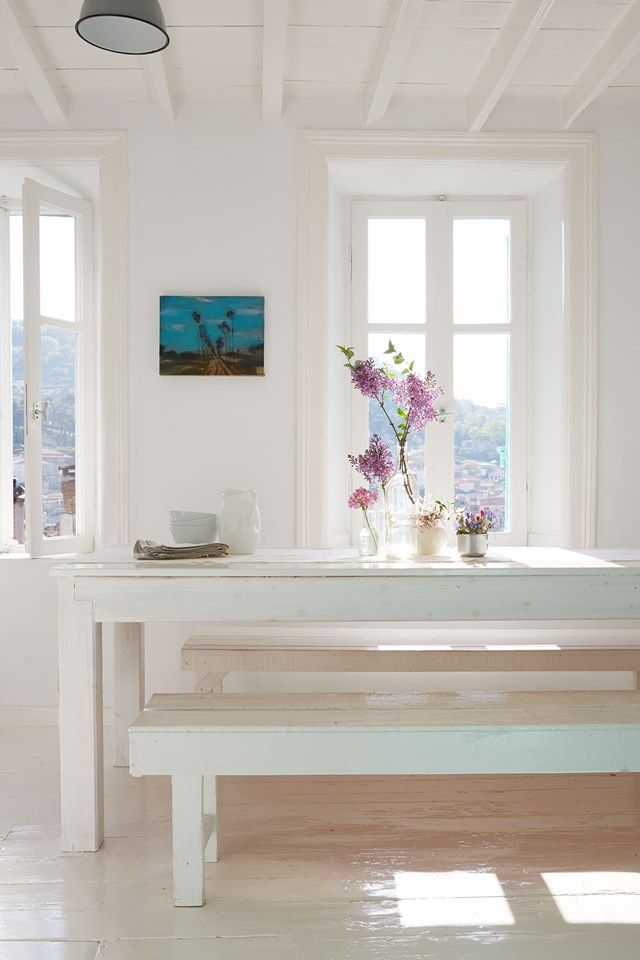paint home design%0A Designer Claire Lloyd transformed the interior of her house in Greece into  a series of white