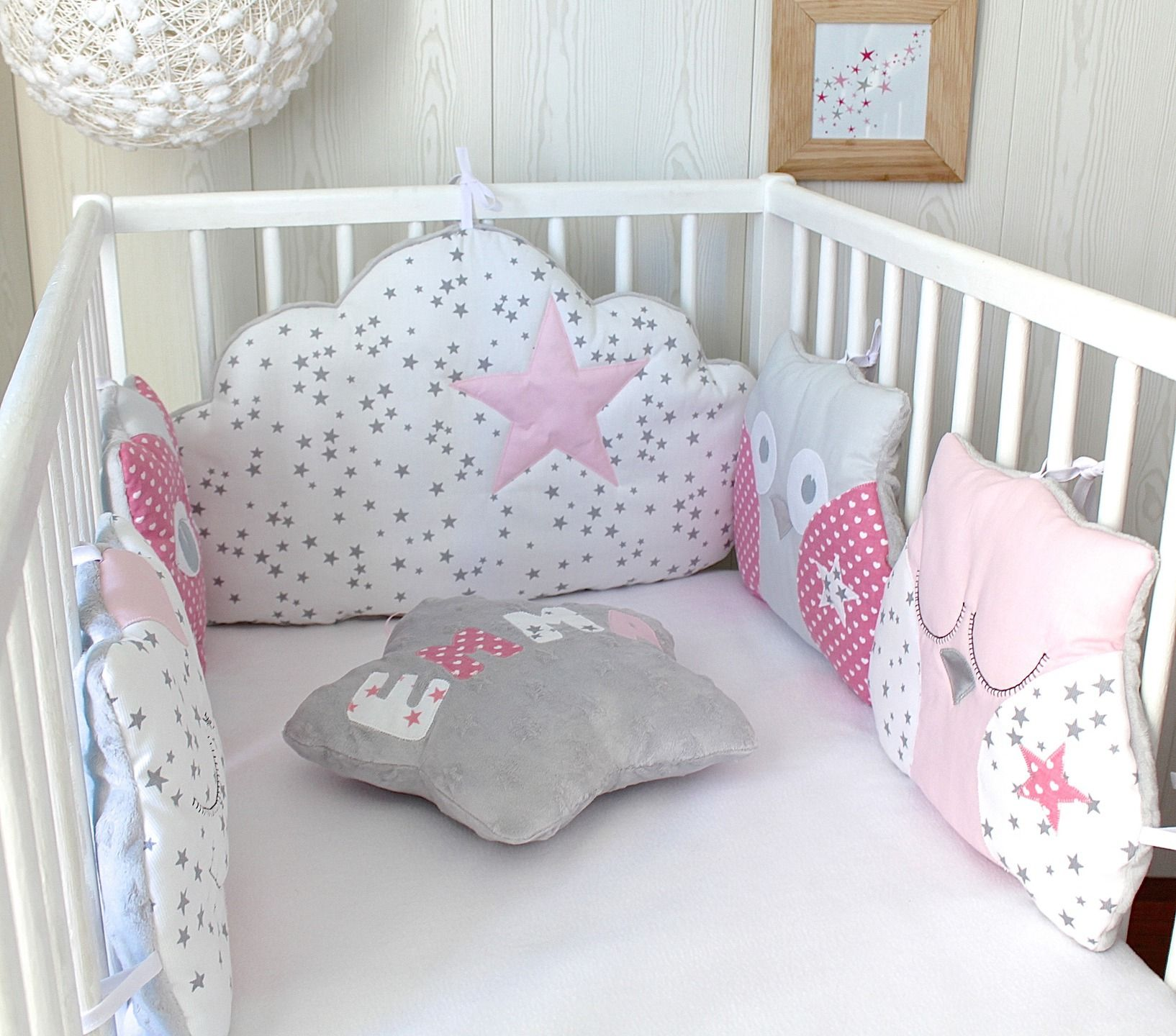 Tour de lit 5 coussins chat et hibou ou chouette tons roses et gris linge de lit enfants par - Tour de lit et gigoteuse fille ...
