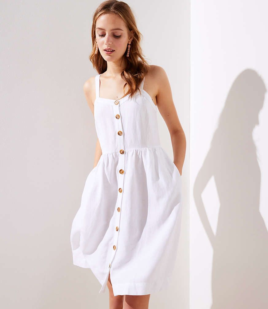 Strappy Button Down White Dress With Pockets Little White Dresses Dresses Fashion