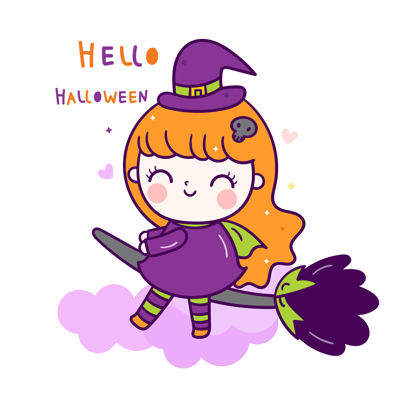 Cute Vector Halloween Witch Cartoon Pretty Kids Trick Or Treat