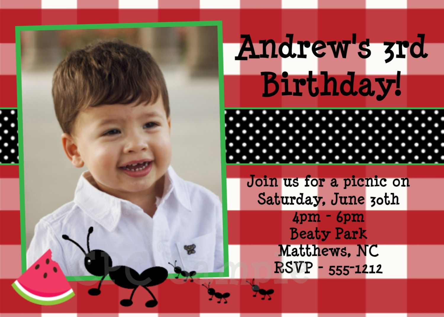 happy birthday invitation pictures%0A Ants on a Picnic Birthday Invitation Picnic Birthday Party