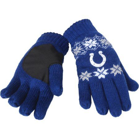 NFL Forever Collectibles Lodge Gloves, Indianapolis Colts, Blue