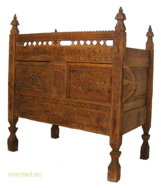 Antique Swat Valley Women Married Dowry Chest From The Old Silk