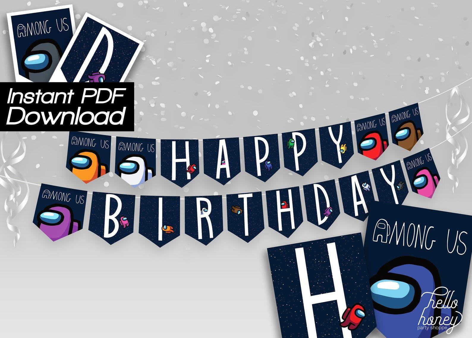 Among Us Birthday Banner Printable Digital Item Happy Birthday Banner Printable Birthday Banner Printable Banner