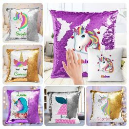 Custom Mermaid Reversible Sequin Pillow Personalized Unicorn Sequin Pillow for Girls, 16×16 Inches Purple Silver