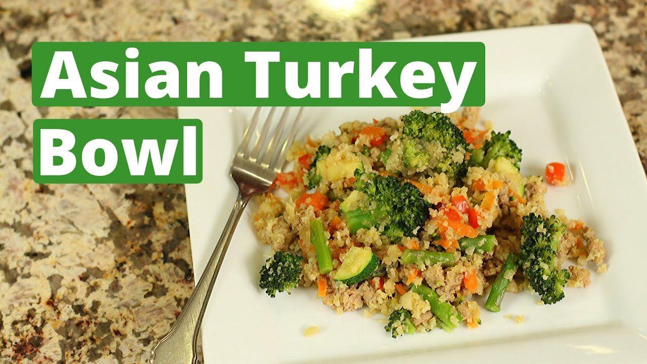 Asian turkey bowl with cauliflower rice gluten free