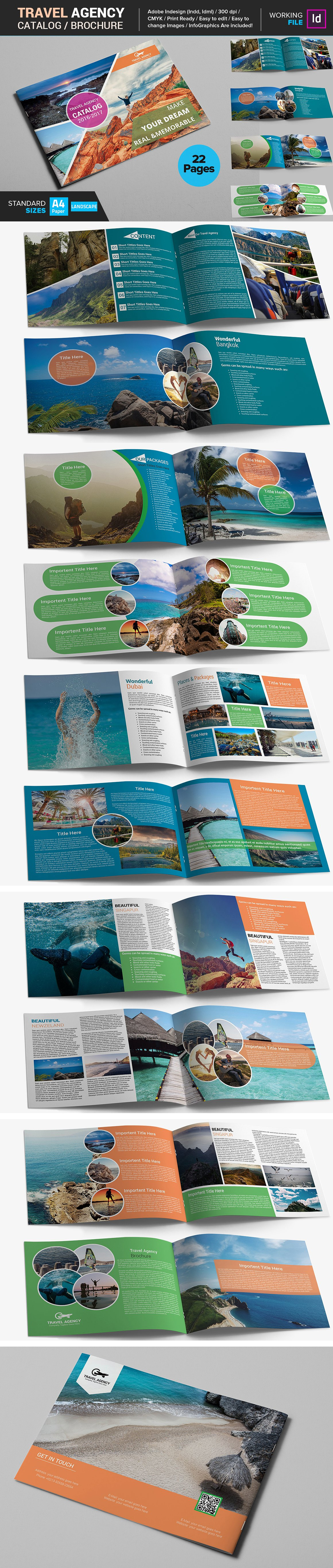Travel Agency Catalog Brochure Template Indd Pdf Template