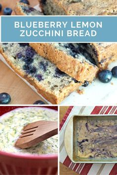 Easy recipe for Blueberry Lemon Zucchini Bread.  Use fresh or frozen blueberries!