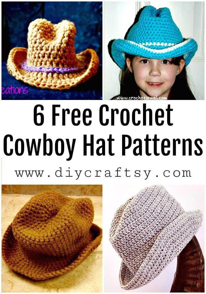 6 Free Crochet Cowboy Hat Patterns | Crochet 18a cabeza | Pinterest ...