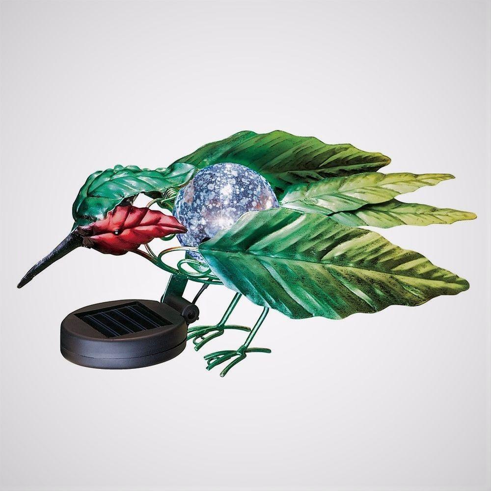 Lighted Metal Hummingbird Solar Glass Ball Bird Fence Topper Table ...