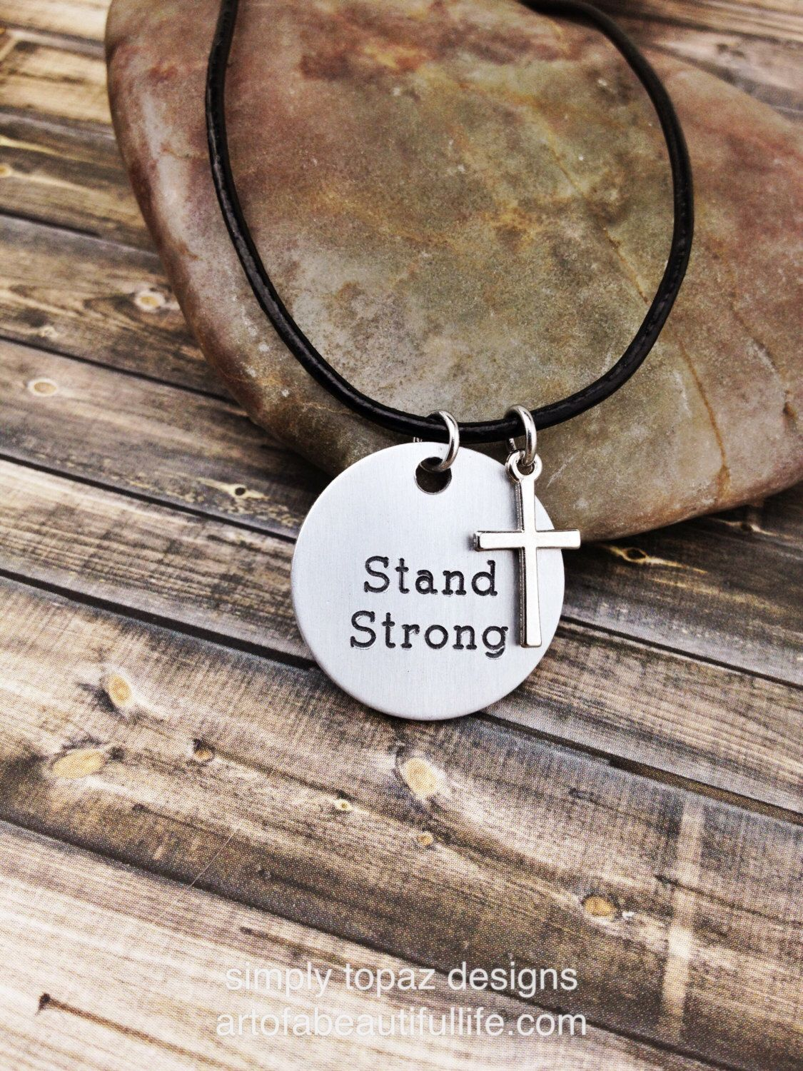 Stand strong.   Christian necklace   https://www.etsy.com/listing/250670588/engraved-jewelry-christian-necklace