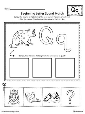 Letter Q Beginning Sound Picture Match Worksheet | a to z activity ...