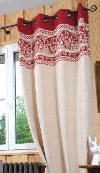 Rideau montagne Armailli ecru rouge | décoration chalet | Pinterest ...