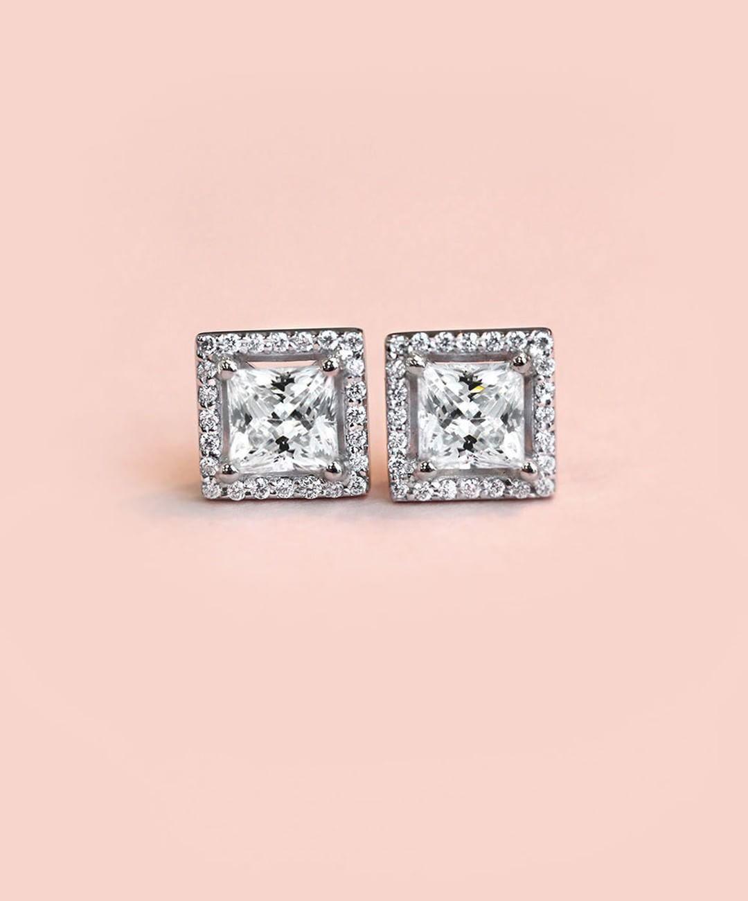 Diamond Halo Stud Earrings | Diamond, Jewelry collection and Quality ...