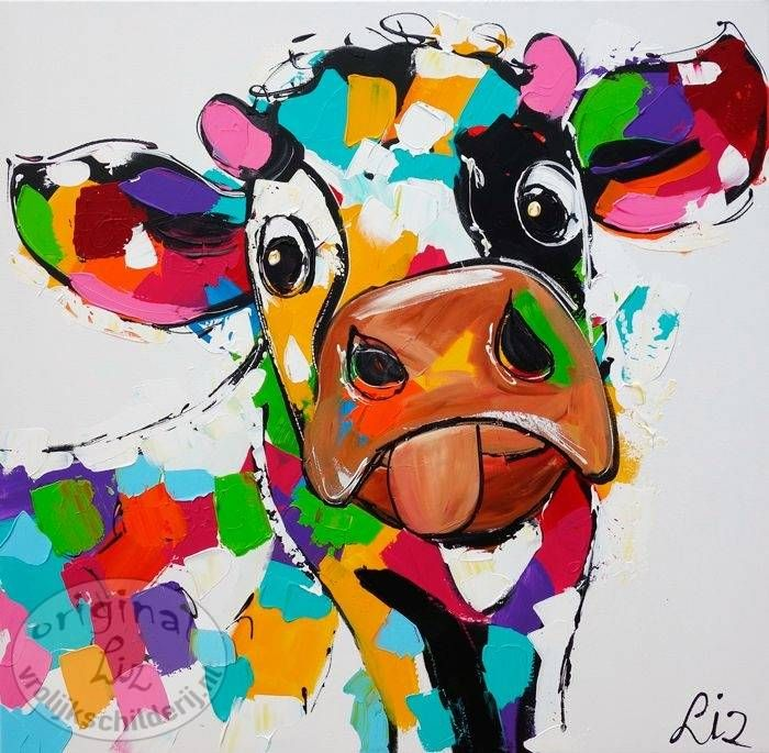 vrolijk schilderij koe apart schilderij koe koeien kunst