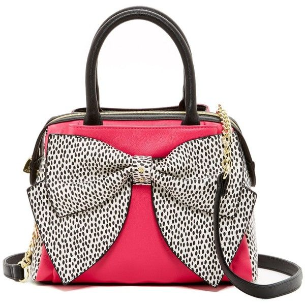 Betsey Johnson Ready Set Bow Satchel ($60) ❤ liked on Polyvore featuring bags, handbags, fushia, satchel handbags, faux-leather handbags, betsey johnson purses, bow purse and chain handle purse