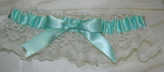 Tiffany Blue and Ivory Lace Wedding Garter by WeddingGarterStore, $10.99