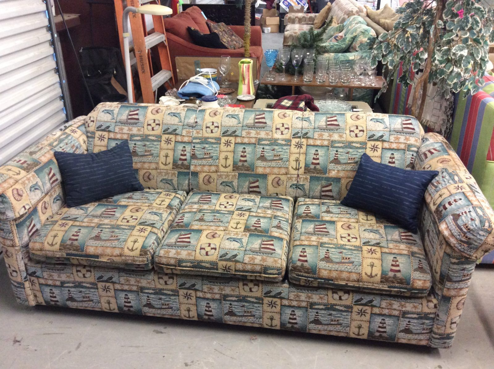nice nautical themed queen sleeper sofa in excellent gently used rh pinterest ca
