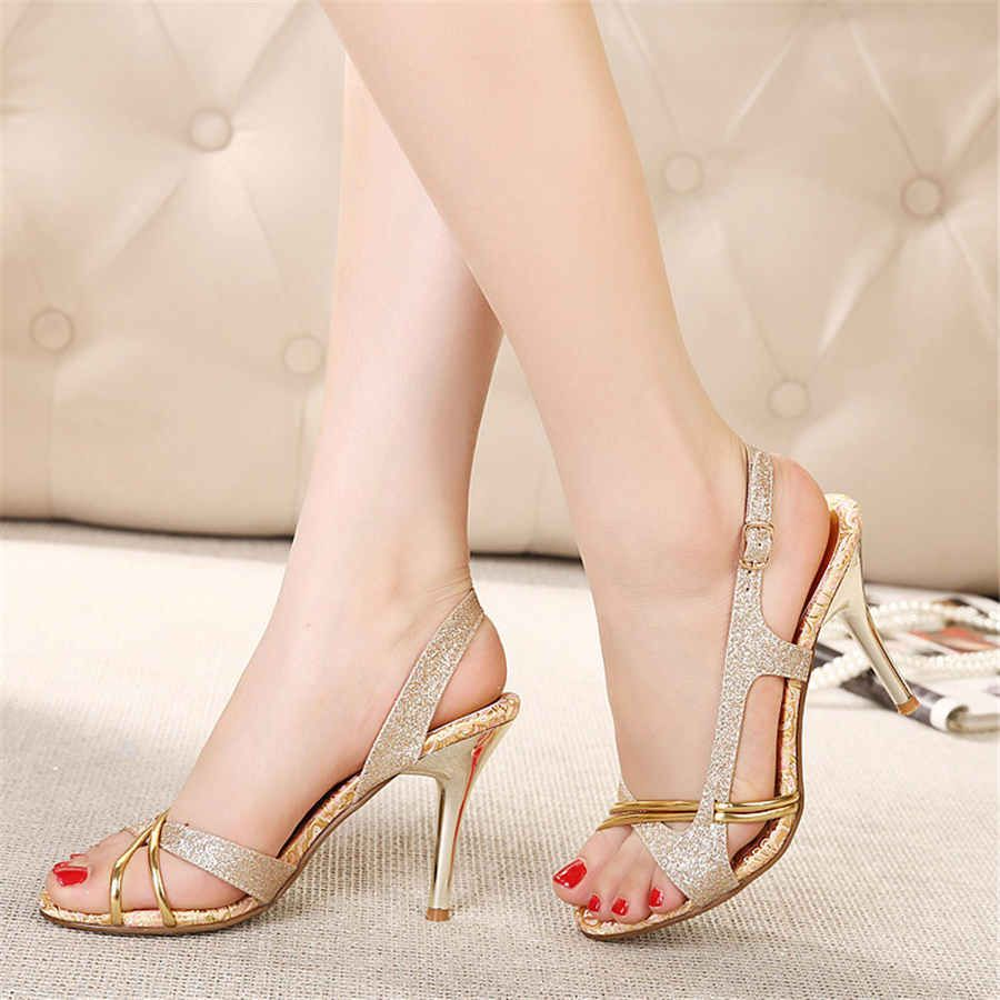 Women Fish Mouth Slipper High Heels Sandals Chunky Heel Antiskid Toes Party Dress Shoes Elegant Dressy