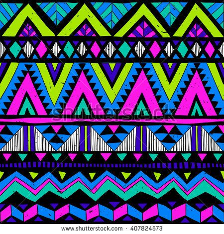 Neon Colors Tribal Navajo Vector Seamless Pattern With Doodle Elements Aztec Abstract Geometric Pattern Art Abstract Geometric Art Print Aztec Print Wallpaper