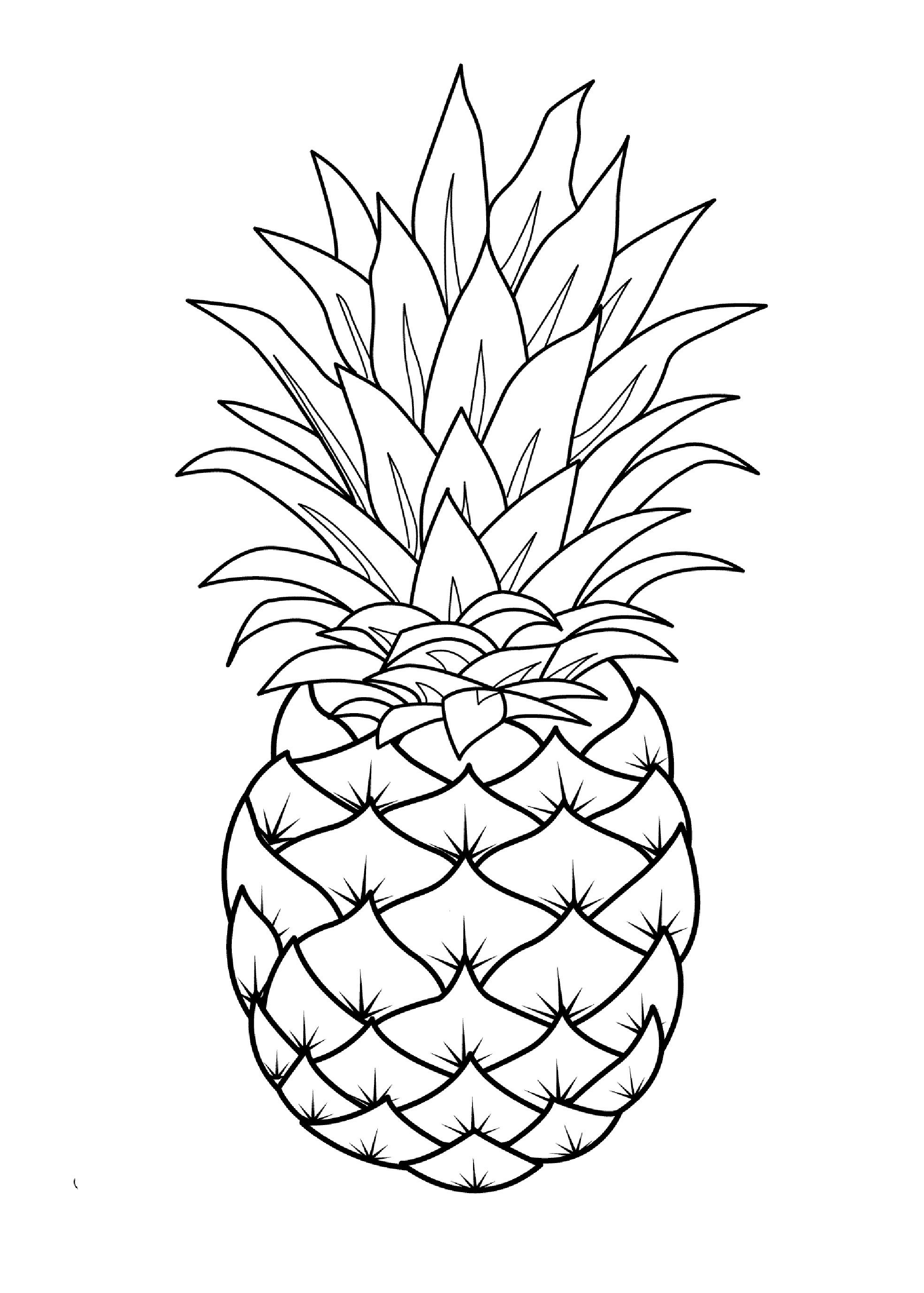 85 Jpg 1969 2756 Fruit Coloring Pages Pineapple Drawing