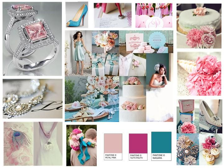 58ba70d860610 Rose Pink, Pink, Turquoise : PANTONE WEDDING Styleboard : The Dessy Group