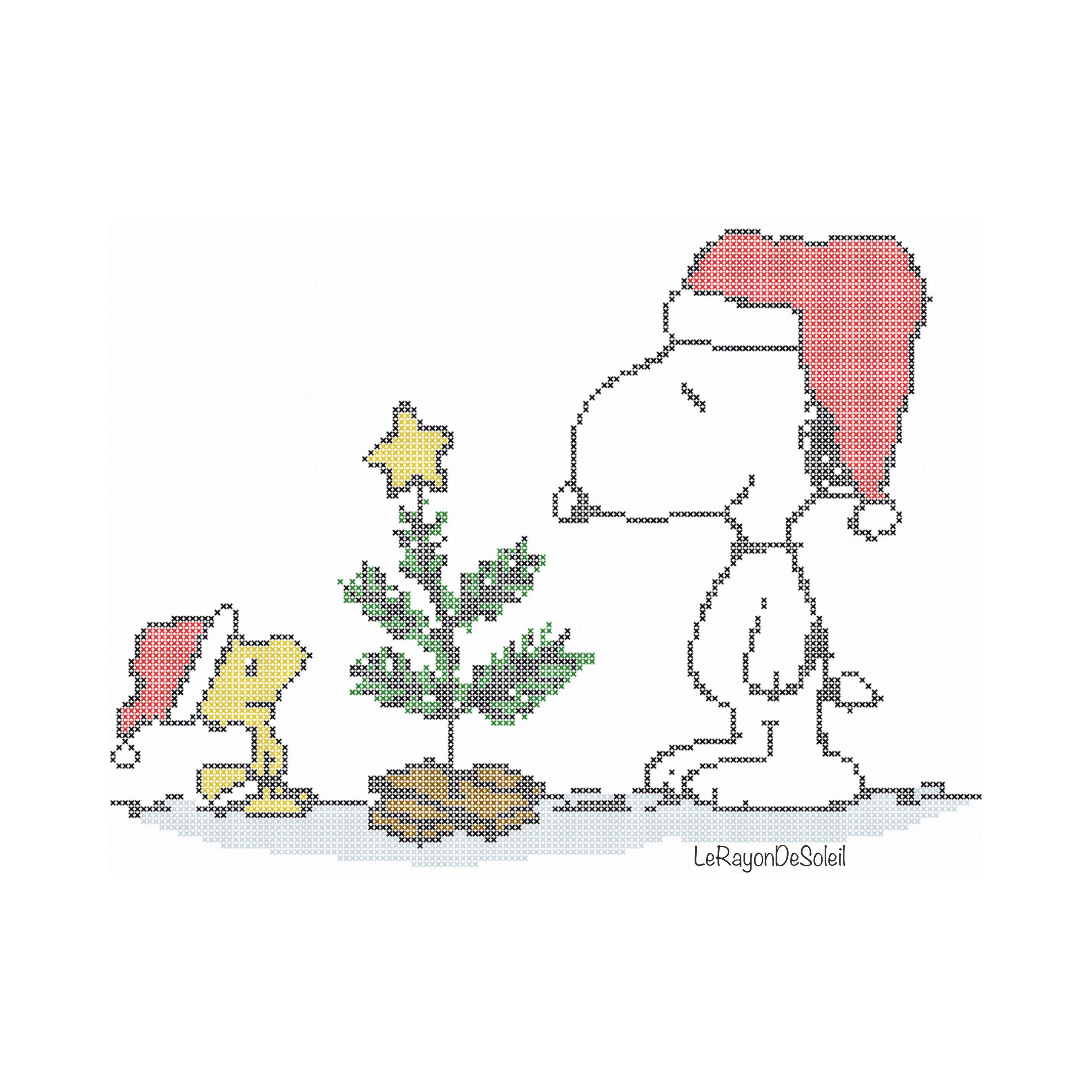 Cross Stitch Pattern Charlie Brown Snoopy Woodstock Winter Snow Christmas Tree Instant Download Pdf Punto De Cruz Patrones Toallas Punto De Cruz Punto De Cruz