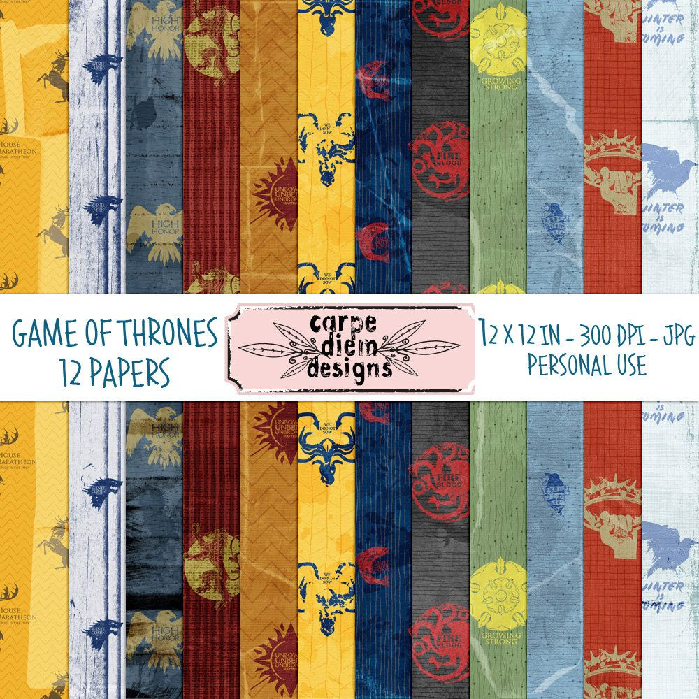 Game of Thrones Inspired Digital Paper Pack 12 x 12 inches with grungy, creases and folds by CarpeDiemScrapbook on Etsy