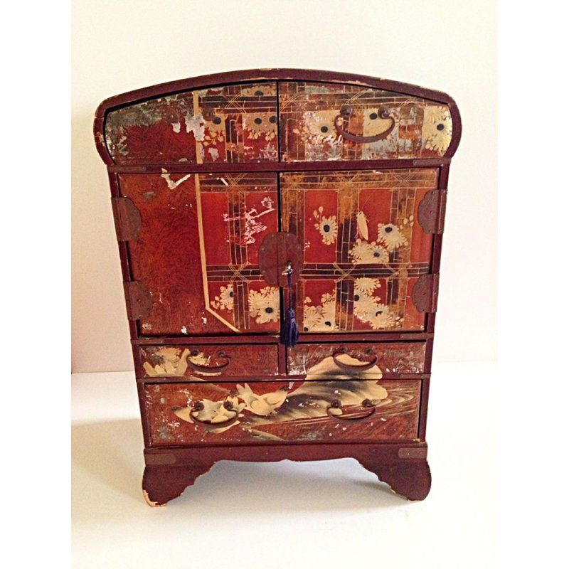 This Is An Early 20th Century Japanese Jewelry Chest It Has 2 Drawers On Top 2 Small And One Lar Oriental Jewelry Box Jewelry Armoire Painted Jewelry Armoire