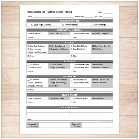 Printable Housekeeping Log  Cleaning Service Detailed Tracking
