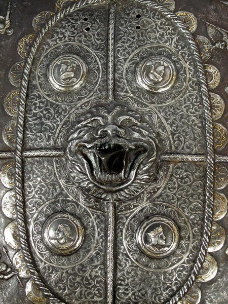 RARE 18th C. Italian Embossed Iron Gold and Silver Inlaid Parade Shield Milanese