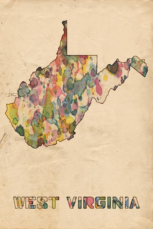 Marvelous West Virginia Map Vintage Watercolor Painting Home Sweet Home Interior And Landscaping Ymoonbapapsignezvosmurscom