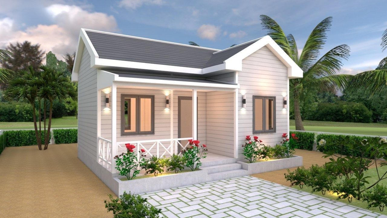House Plans 7x6 With One Bedroom Cross Gable Roof The House Has Car Parking And Garden Living Small House Design Plans Cottage House Exterior Gable Roof House