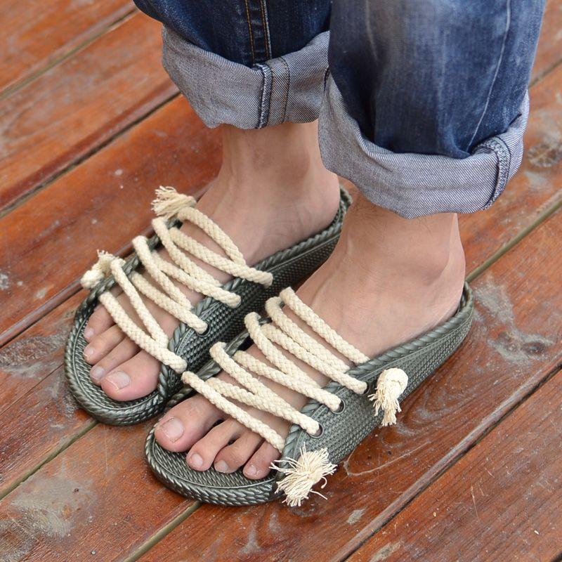 Plastic Slippers Male Slippers Hemp Rope Sandals Lovers Slippers Summer Slippers Male Personality 9 16 Rope Sandals Sandals Summer Slippers