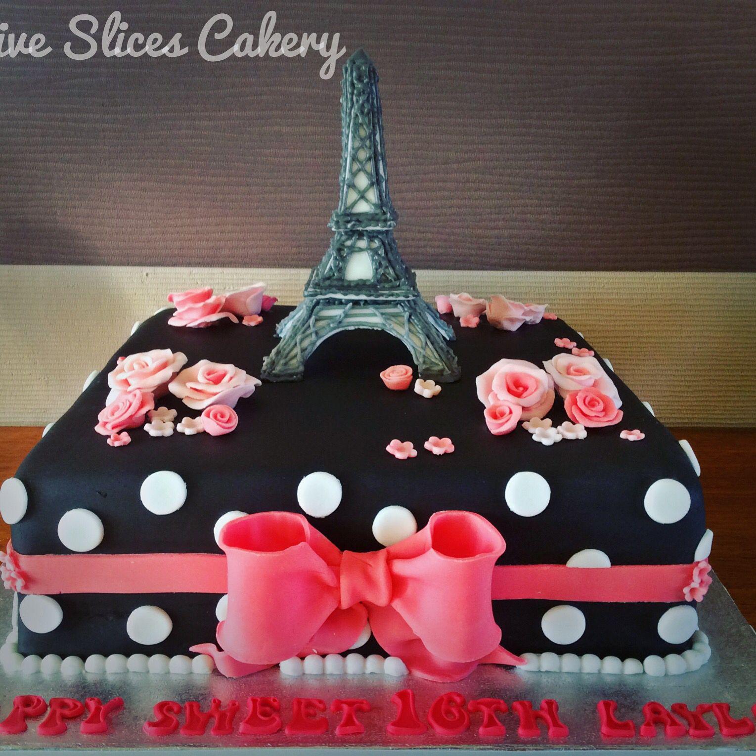 Pretty Paris inspired sweet sixteen cake with sugar Eiffel Tower X
