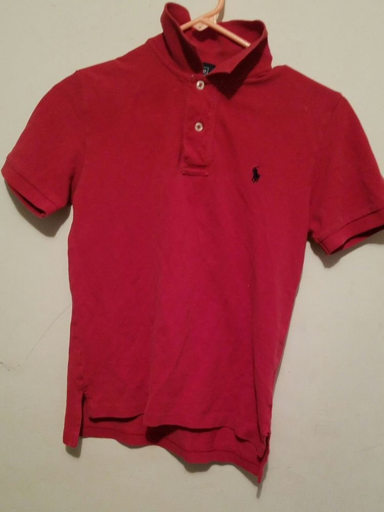 8c88636d ... best price ralph lauren polo shirt small size 8 collar deep red polo  classic shirt clothing