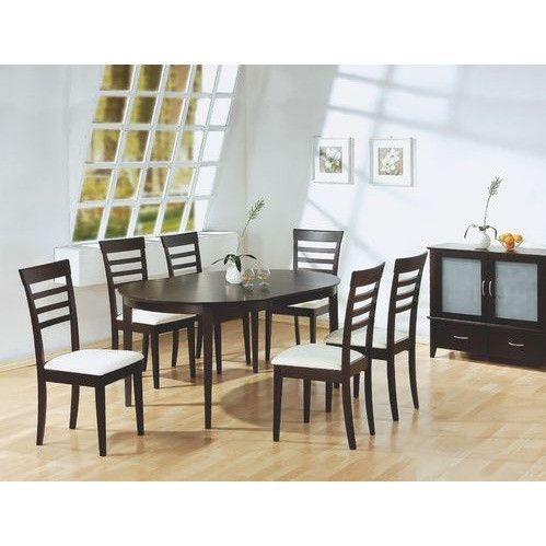 7 piece modern oval dining set in cappuccino finish kitchen table rh pinterest com