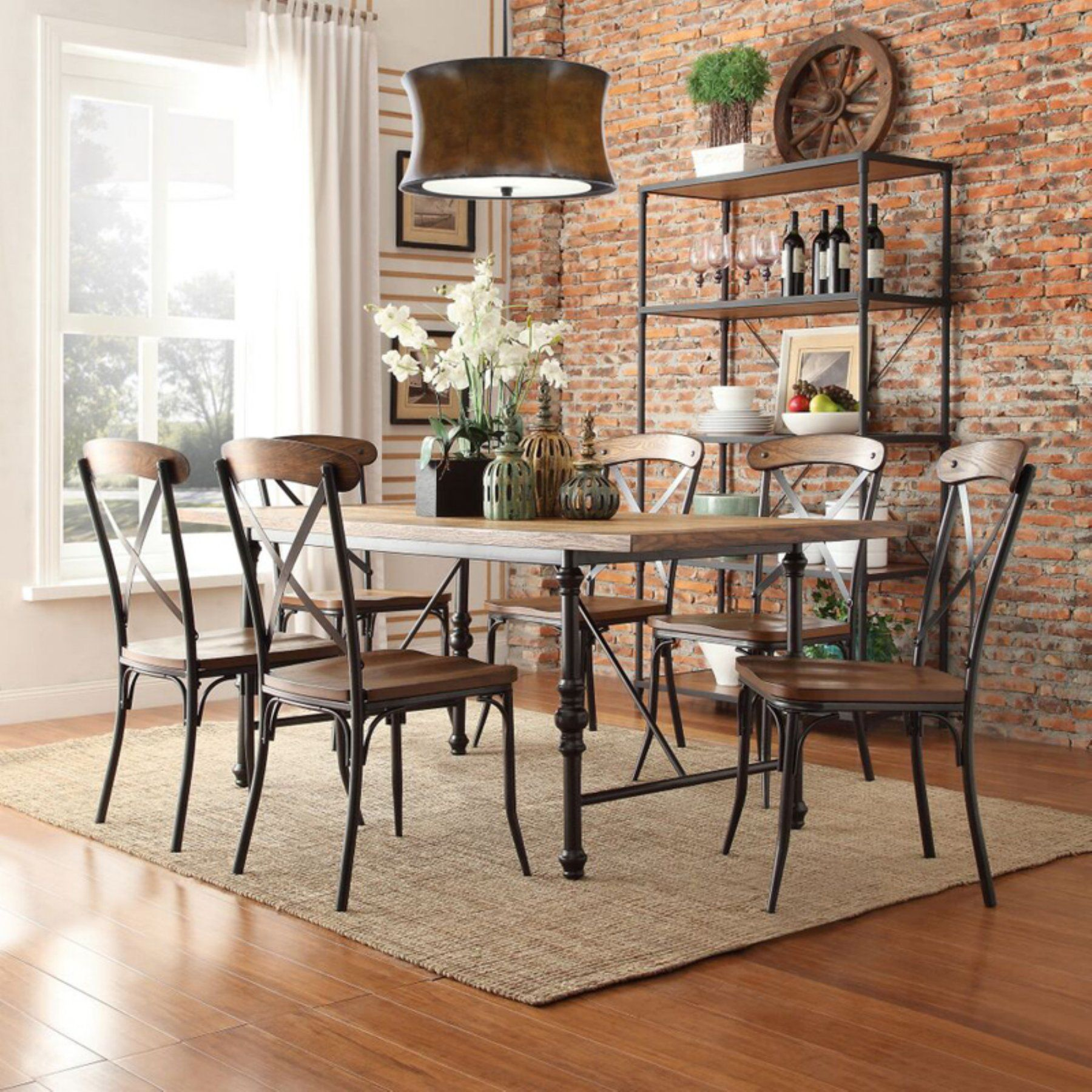 weston home 7 piece industrial dining set with x back chairs in 2019 rh pinterest com