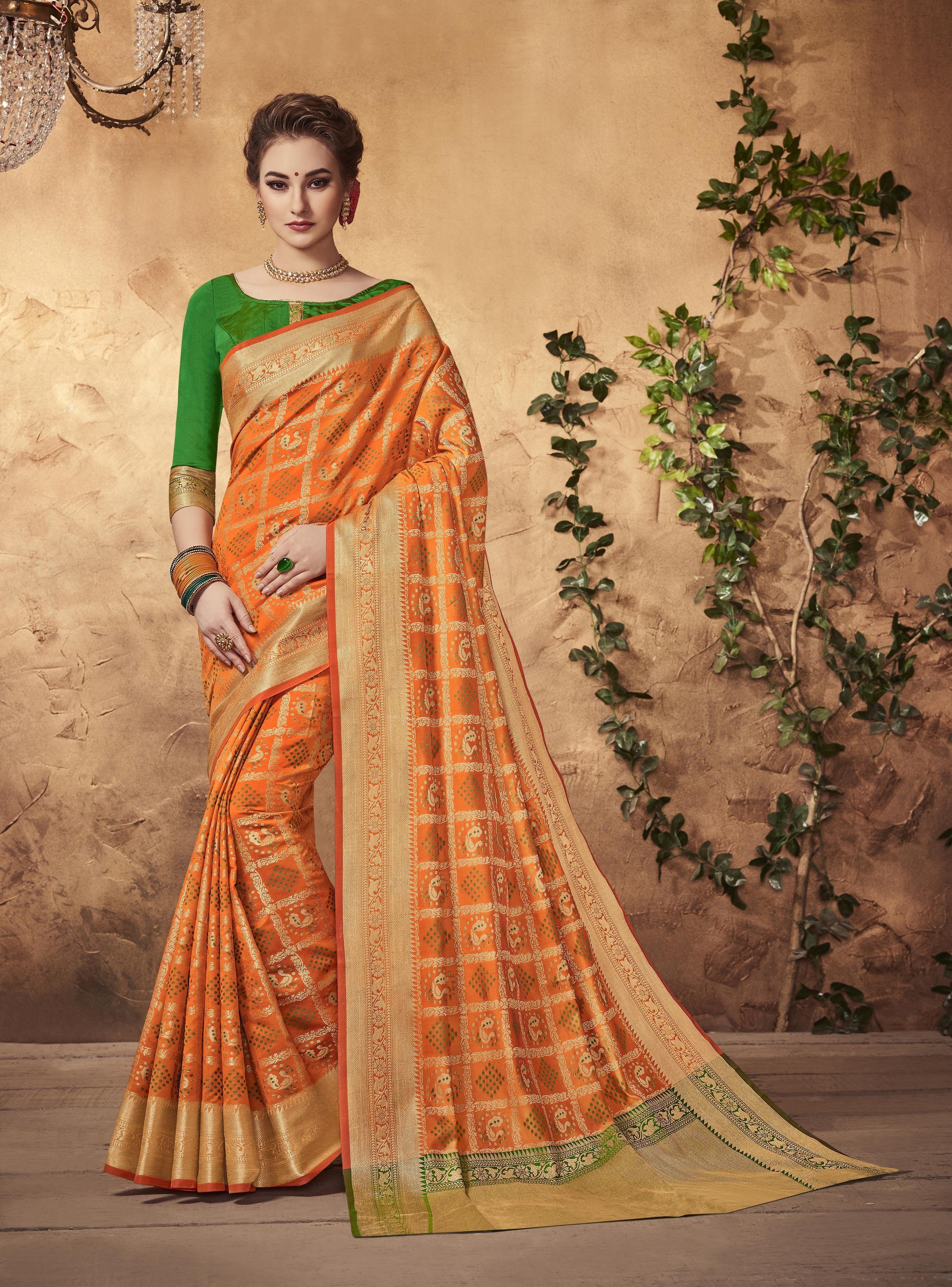 1c9802e9ab525 Buy online Orange colour Designer Traditional Patola Silk Saree at  joshindia saree