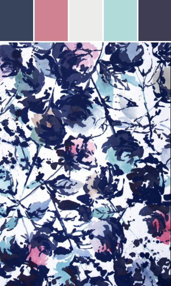 Inky indigo watercolor floral print. | patterned prints | Pinterest ...
