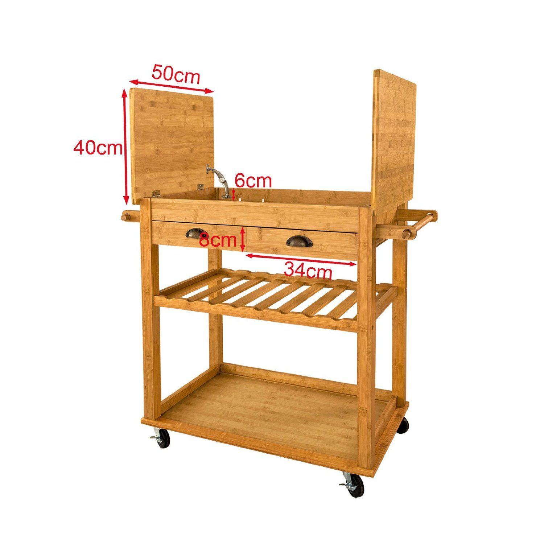 sobuy fkw08 n xxl desserte roulettes chariot en bambou de haute qualit meuble rangement. Black Bedroom Furniture Sets. Home Design Ideas