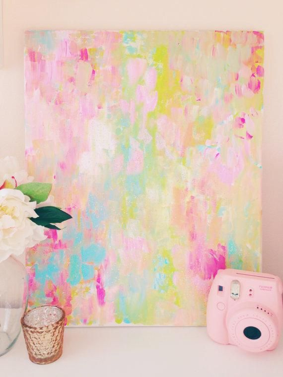 Confetti 16 X20 Abstract Painting Pastels Room Ideas