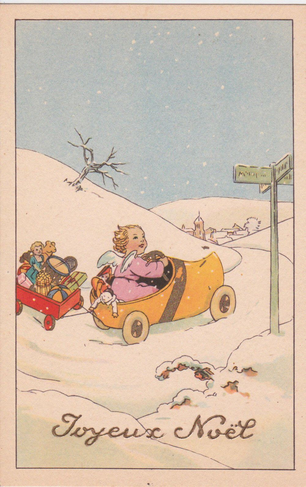 Vintage French Christmas Postcard A Printable Digital Download No