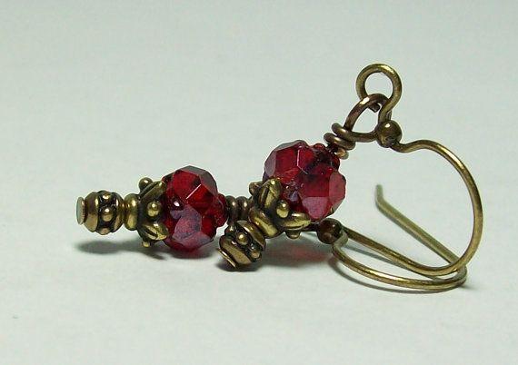 Ruby Rosebud Earrings. Czech Glass and by VickieJoesJewels on Etsy