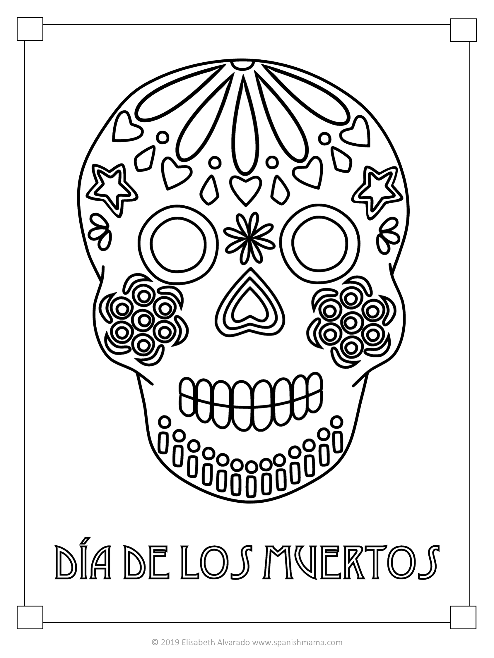 Sugar Skull Coloring Page - Coloring Home | 2249x1687