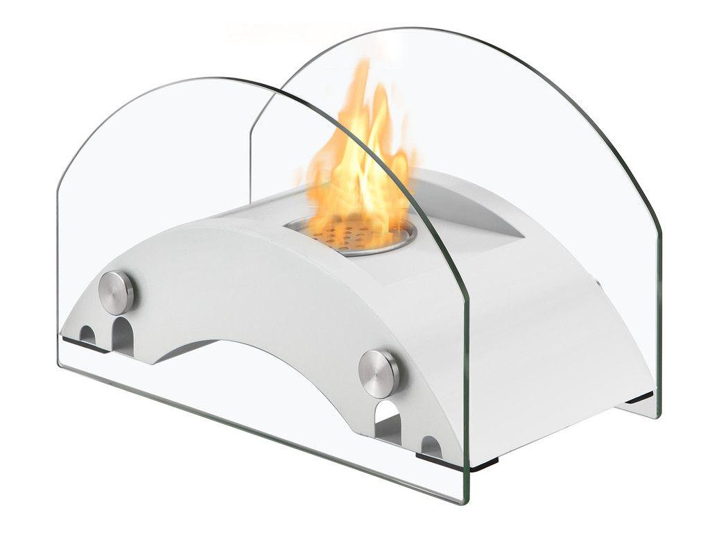 Circum White Eco Friendly Ignis Ventless Tabletop Bio Ethanol Fireplace