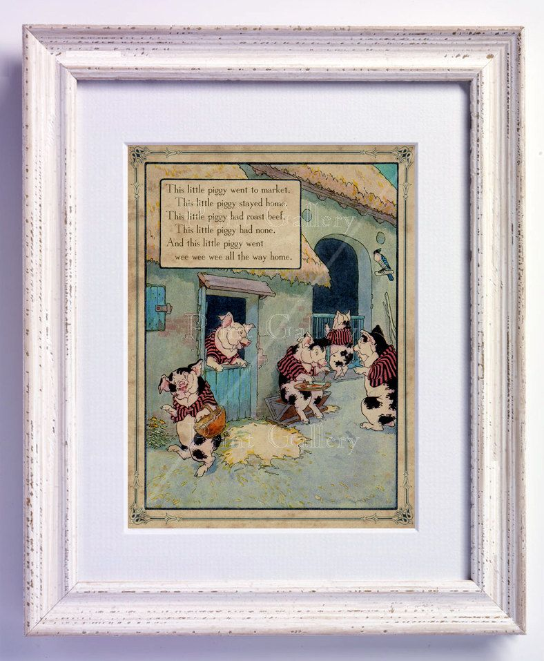 Double mat and add black frames for more impact...Nursery Rhyme This Little Piggy Went to Market Print Wall Art Book Page Boy Girl Bedroom Kids Baby Room Antique Decor Vintage Picture 178. $9.95, via Etsy.