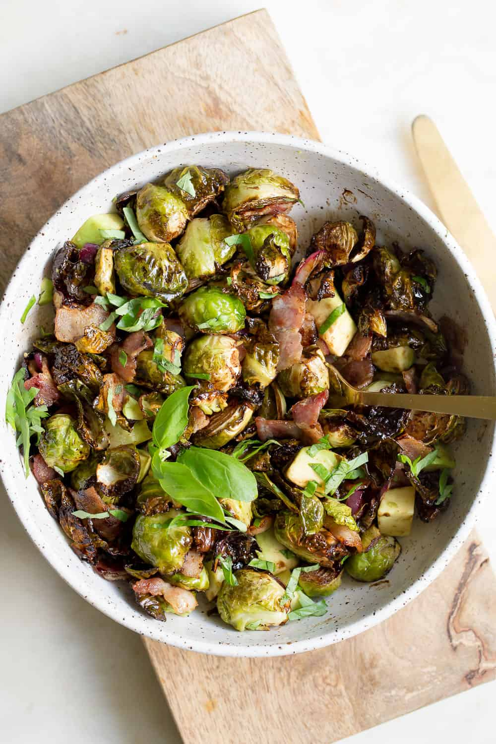Air Fryer Brussels Sprouts and Bacon - Wholesomelicious