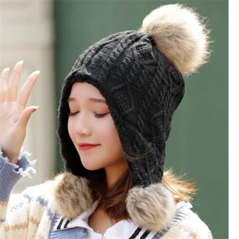 f3d57838 Womens winter hats with ear flaps lined fleece cable knit snow hat with pom  pom
